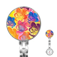 Pop Art Roses Stainless Steel Nurses Watch