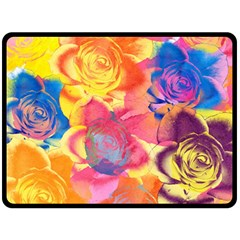 Pop Art Roses Double Sided Fleece Blanket (Large)