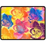 Pop Art Roses Double Sided Fleece Blanket (Large)  80 x60 Blanket Back