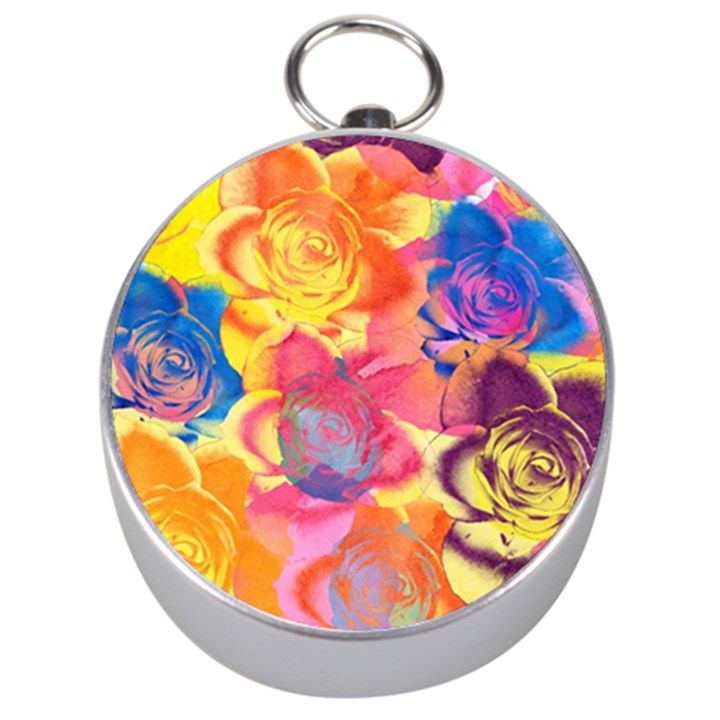 Pop Art Roses Silver Compasses