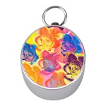 Pop Art Roses Mini Silver Compasses Front