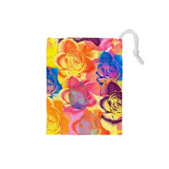 Pop Art Roses Drawstring Pouches (Small)