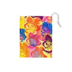 Pop Art Roses Drawstring Pouches (Small)  Front