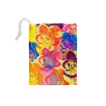 Pop Art Roses Drawstring Pouches (Small)  Back