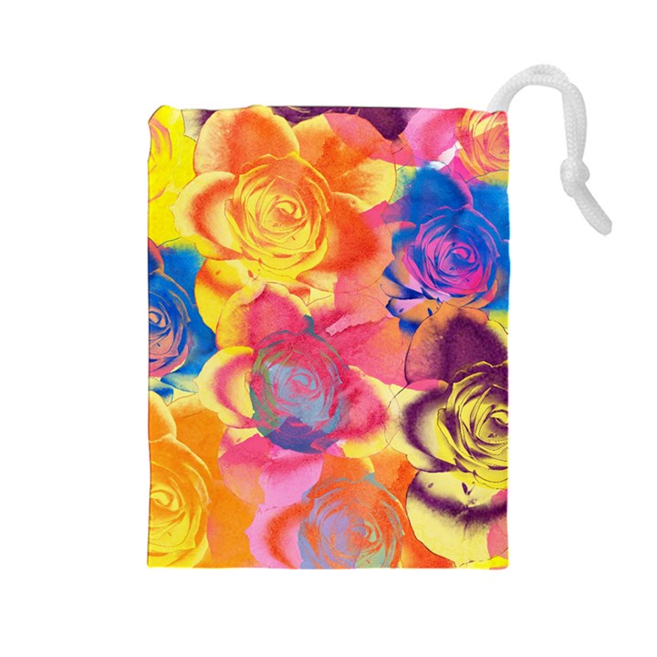 Pop Art Roses Drawstring Pouches (Large)