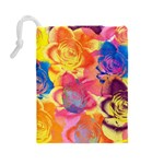 Pop Art Roses Drawstring Pouches (Large)  Back