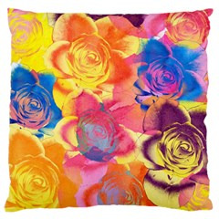 Pop Art Roses Large Flano Cushion Case (One Side)