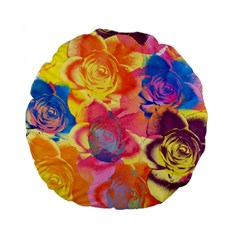 Pop Art Roses Standard 15  Premium Flano Round Cushions