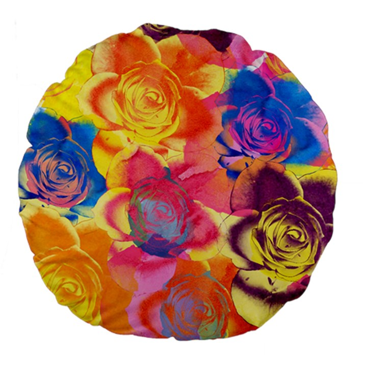 Pop Art Roses Large 18  Premium Flano Round Cushions