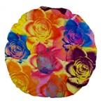 Pop Art Roses Large 18  Premium Flano Round Cushions Back