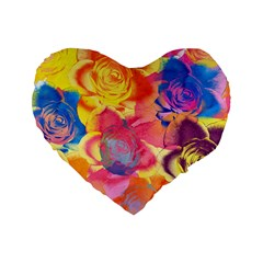 Pop Art Roses Standard 16  Premium Flano Heart Shape Cushions