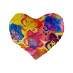 Pop Art Roses Standard 16  Premium Flano Heart Shape Cushions Back