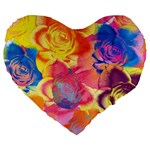 Pop Art Roses Large 19  Premium Flano Heart Shape Cushions Front