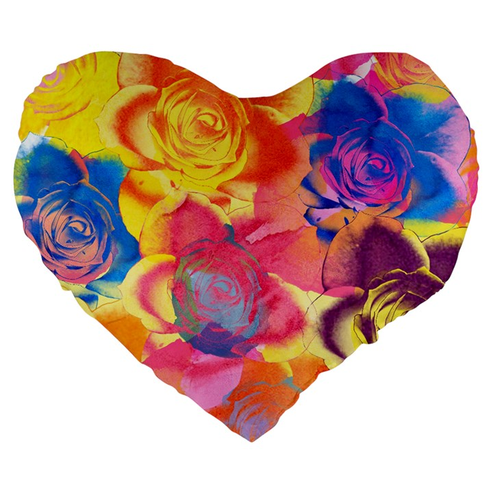 Pop Art Roses Large 19  Premium Flano Heart Shape Cushions