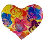 Pop Art Roses Large 19  Premium Flano Heart Shape Cushions Back