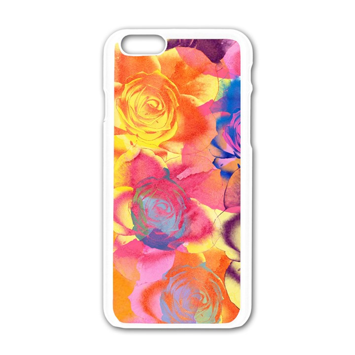 Pop Art Roses Apple iPhone 6/6S White Enamel Case