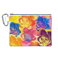 Pop Art Roses Canvas Cosmetic Bag (L)