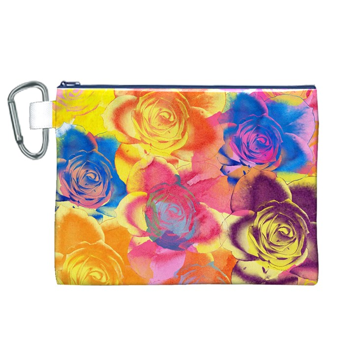 Pop Art Roses Canvas Cosmetic Bag (XL)