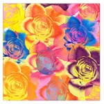 Pop Art Roses Large Satin Scarf (Square) Front