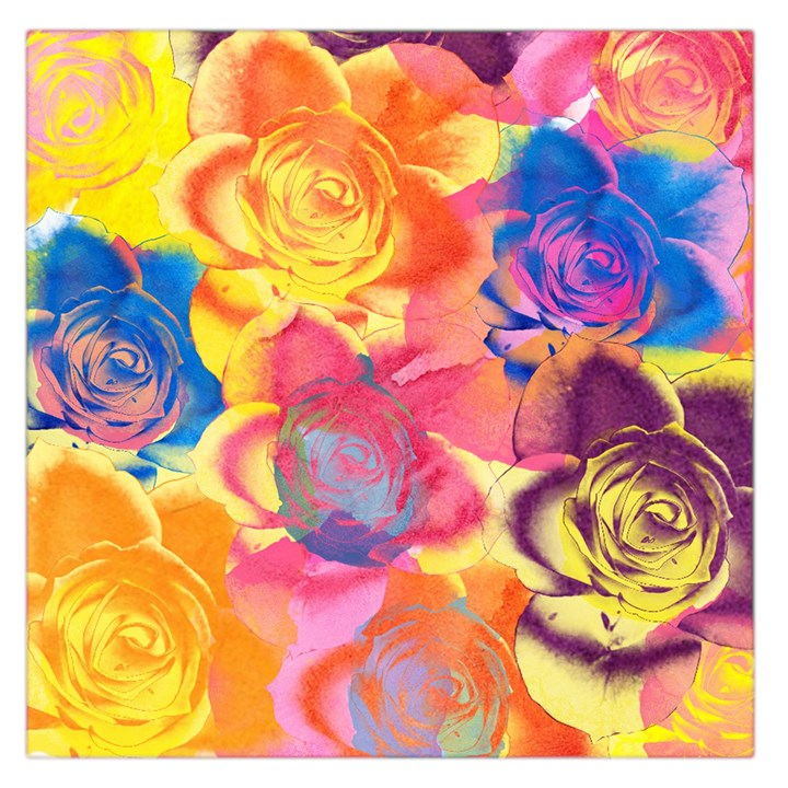 Pop Art Roses Large Satin Scarf (Square)