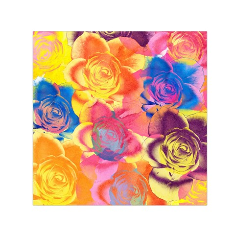 Pop Art Roses Small Satin Scarf (Square)