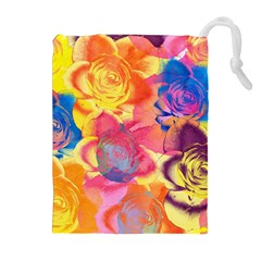 Pop Art Roses Drawstring Pouches (extra Large)