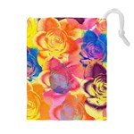 Pop Art Roses Drawstring Pouches (Extra Large) Front