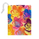 Pop Art Roses Drawstring Pouches (Extra Large) Back
