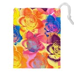 Pop Art Roses Drawstring Pouches (XXL) Front