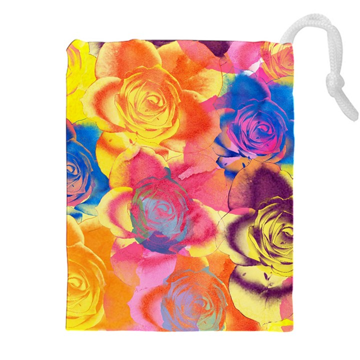 Pop Art Roses Drawstring Pouches (XXL)