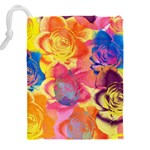 Pop Art Roses Drawstring Pouches (XXL) Back
