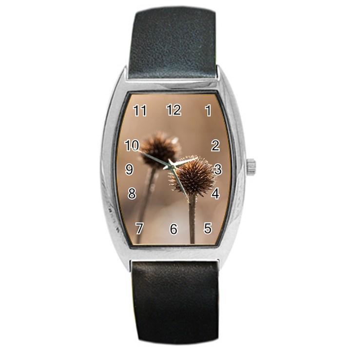 2  Verwelkte Kugeldistel Barrel Style Metal Watch