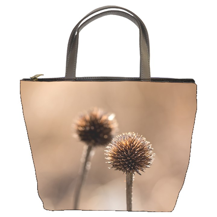 2  Verwelkte Kugeldistel Bucket Bags