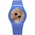 2  Verwelkte Kugeldistel Round Plastic Sport Watch (S) Front