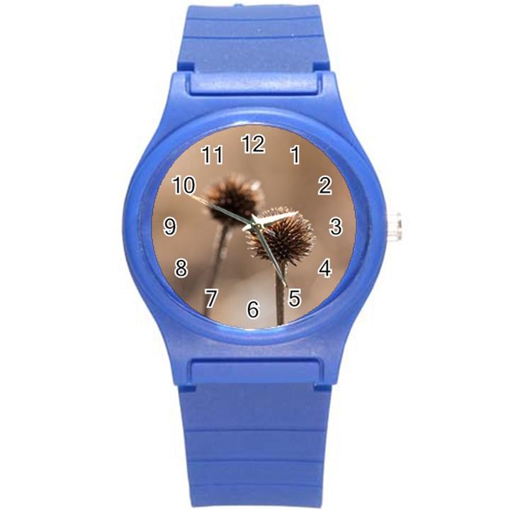 2  Verwelkte Kugeldistel Round Plastic Sport Watch (S)