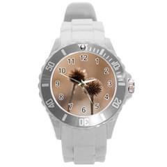 2  Verwelkte Kugeldistel Round Plastic Sport Watch (l)