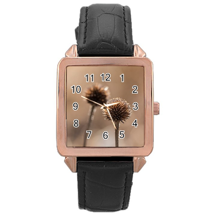 2  Verwelkte Kugeldistel Rose Gold Leather Watch