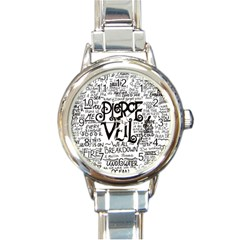 Pierce The Veil Music Band Group Fabric Art Cloth Poster Round Italian Charm Watch