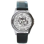 Pierce The Veil Music Band Group Fabric Art Cloth Poster Round Metal Watch Front