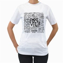 Pierce The Veil Music Band Group Fabric Art Cloth Poster Women s T Shirt (white) (two Sided)