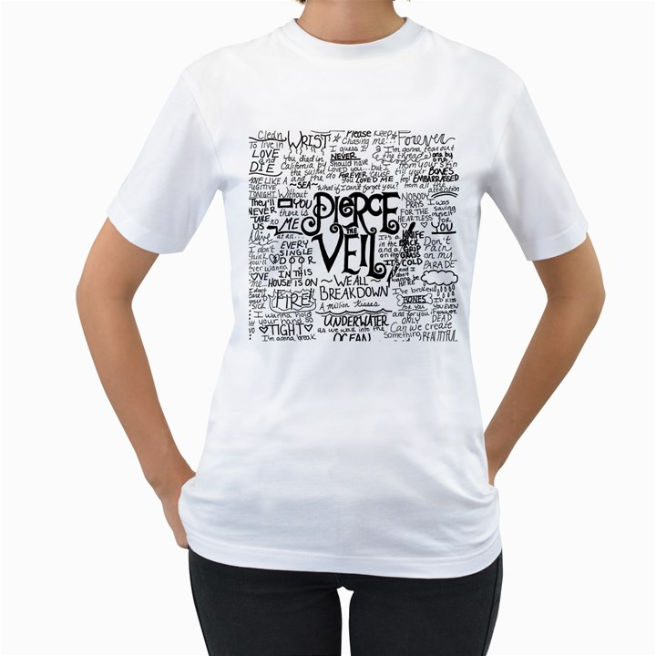 Pierce The Veil Music Band Group Fabric Art Cloth Poster Women s T-Shirt (White) (Two Sided)