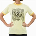 Pierce The Veil Music Band Group Fabric Art Cloth Poster Women s Fitted Ringer T-Shirts Front