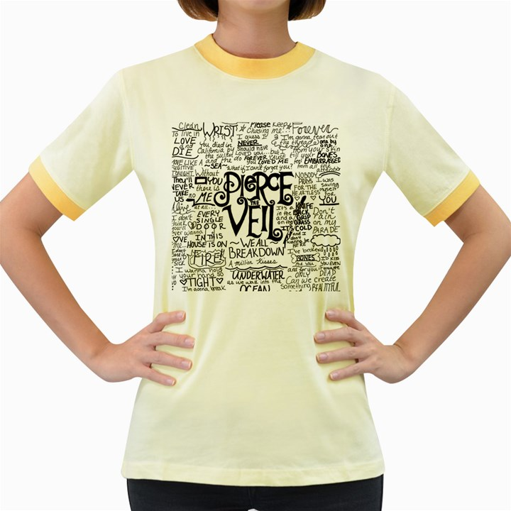 Pierce The Veil Music Band Group Fabric Art Cloth Poster Women s Fitted Ringer T-Shirts