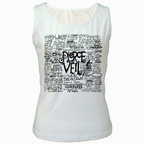 Pierce The Veil Music Band Group Fabric Art Cloth Poster Women s White Tank Top