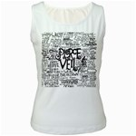 Pierce The Veil Music Band Group Fabric Art Cloth Poster Women s White Tank Top Front
