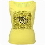 Pierce The Veil Music Band Group Fabric Art Cloth Poster Women s Yellow Tank Top Front
