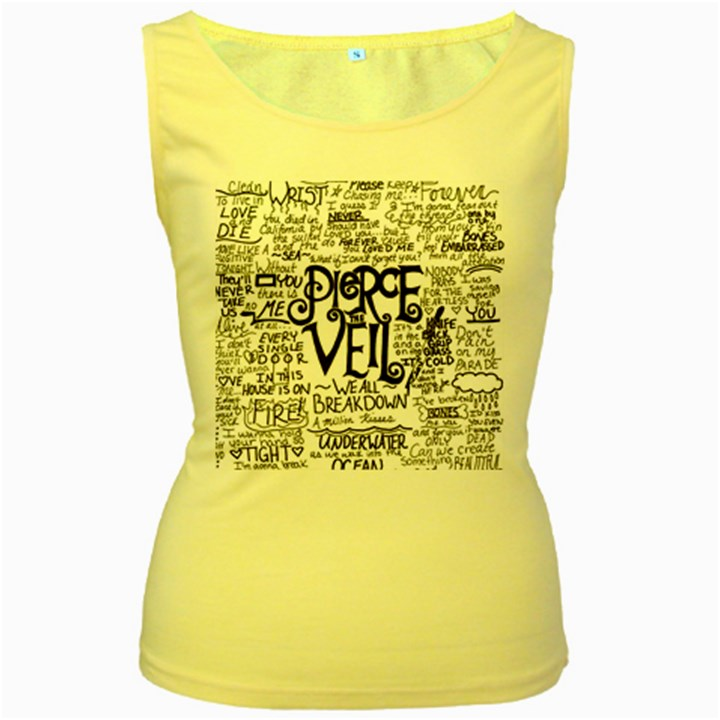 Pierce The Veil Music Band Group Fabric Art Cloth Poster Women s Yellow Tank Top