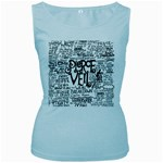 Pierce The Veil Music Band Group Fabric Art Cloth Poster Women s Baby Blue Tank Top Front