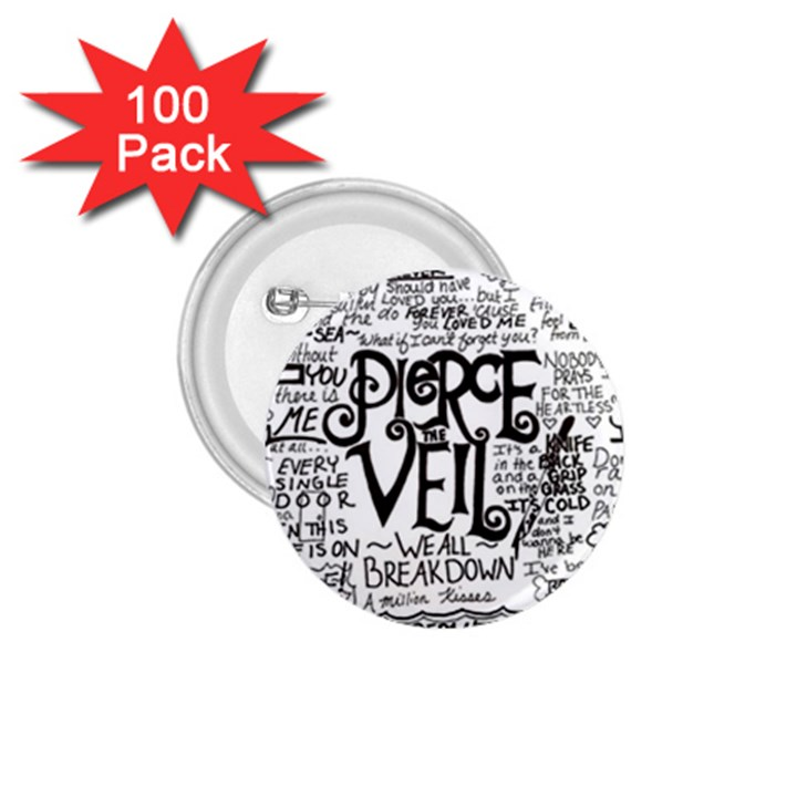 Pierce The Veil Music Band Group Fabric Art Cloth Poster 1.75  Buttons (100 pack)