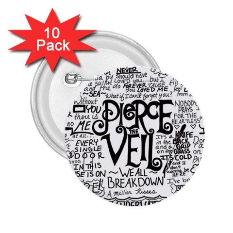 Pierce The Veil Music Band Group Fabric Art Cloth Poster 2.25  Buttons (10 pack)